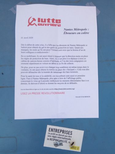 """Tract Lutte ouvrière, Nantes métropole : éboueurs en colère, 1er avril 2020 en dessous un autocollant """"Entreprises, le profit ne devrait pas être une règle internationale, la RESPONSABILITÉ, si"""""""