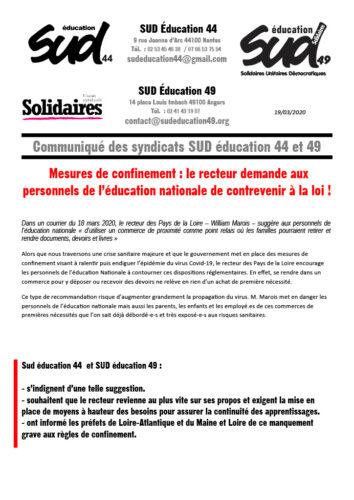 Tract syndical Sud éducation 44 et 49 dénonçant une proposition du recteur de déposer des documents à destination des familles dans des comemrces de proximité