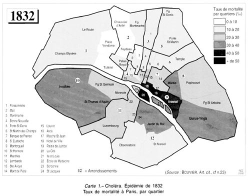 Carte de Paris en 1932 présentant les taux de mortalité par quartier