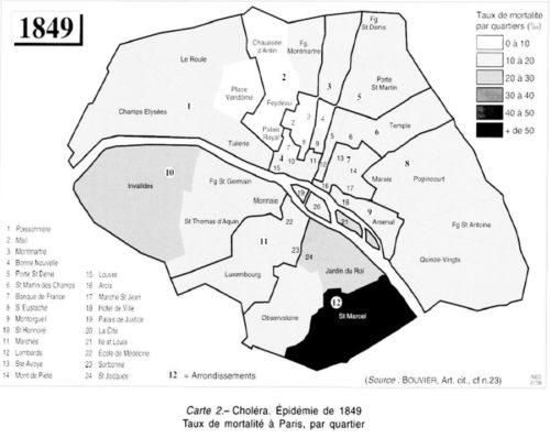 carte de la ville de Paris en 1849 présentant les taux de mortalité par quartier