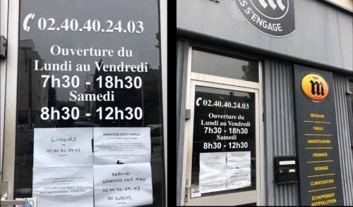 """2 photographie de la devanture d'un garage Midas présentant plusieurs affichettes dont """"service d'urgences sur rendez vous"""""""