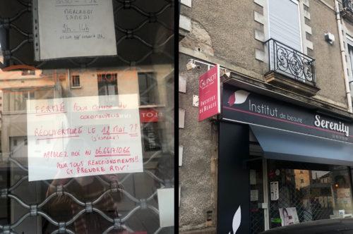 deux photographies de devantures de magasin. la première présente une affichatte avec les mots : Fermé pour cause de coronavirus. réouverture le 12 mai ???? (j'espère). Appelez moi au 06.64.17.10.66 pour tout renseignement et pour prendre rendez-vous