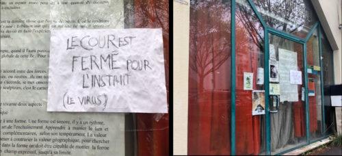 photographie d'une devanture et détail d'une affichette : le cour est fermé pour l'instant (le virus ?)
