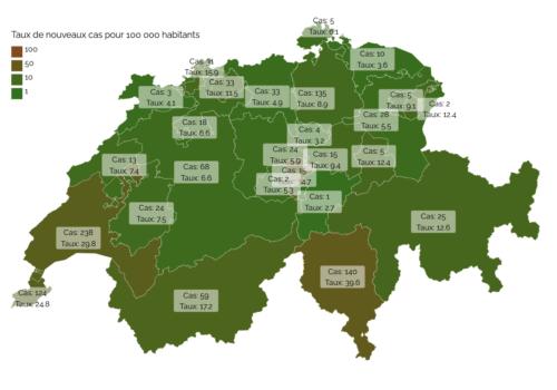 Carte des cantons Suisses montrant le nombre de cas et le taux de contamination au mois de mars 2020