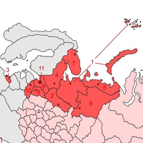 Carte partielle de la Russie indiquant la position de la région de Novgorod